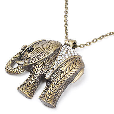 Elephant Shape Copper Necklace with Rhinestone