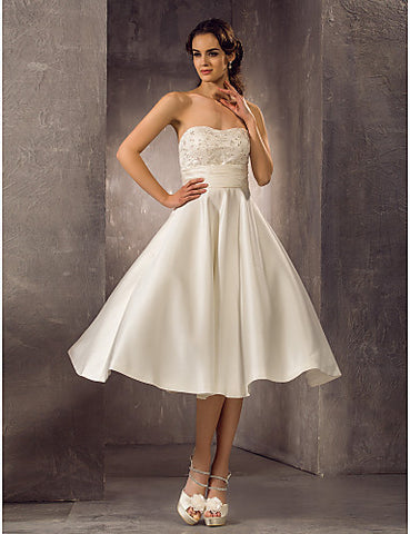 A-line Strapless Tea-length Lace Satin Lace Wedding Dress