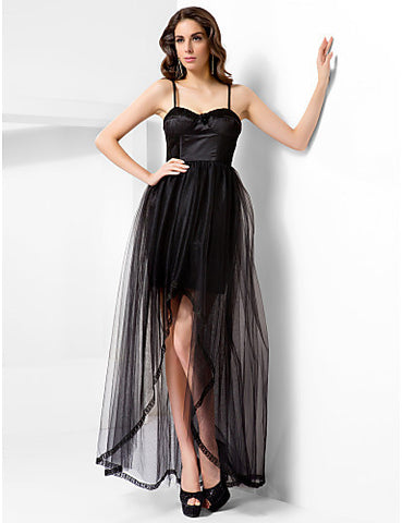 A-line Spaghetti Straps Floor-length Tulle Evening/Prom Dress