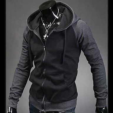 Men¡¯s Contrast Color Hooded Long Sleeve Cardigan