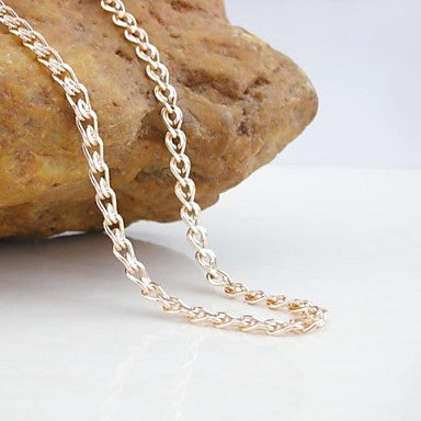 18K CC/585 Gold Plated Rose Gold Copper Necklace 60CM