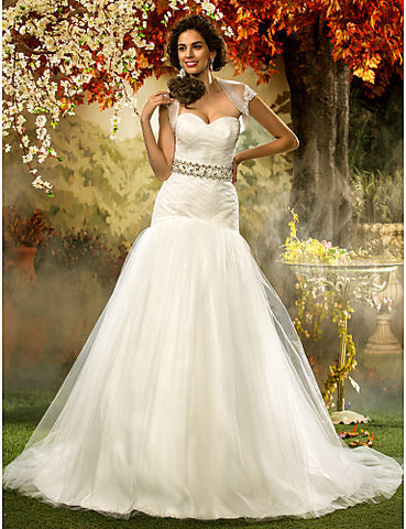Fit and Flare Sweetheart Tulle Wedding Dress With Wrap
