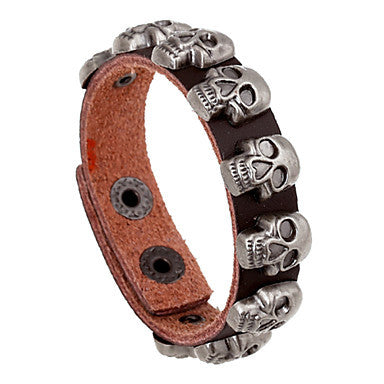 European Skull 20cm Men's Multicolor Leather Leather Bracelet(White,Black,Blue,Red,Brown)(1 Pc)