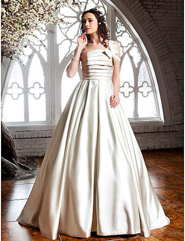 A-line Princess One Shoulder Sweep/Brush Train Satin Wedding Dress (682826)