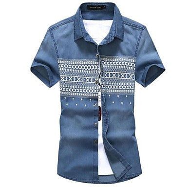 Men's Turn Down Embroidery Denim Plus Size Slim Shirt