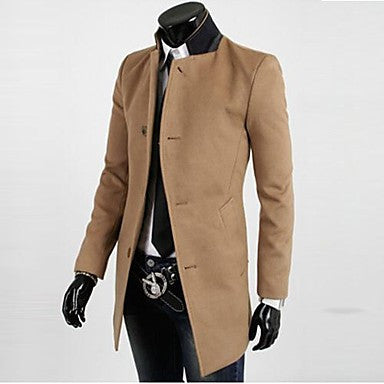 Men's Stand Collar Casual Long Sleeve Single Breasted Trench Coat