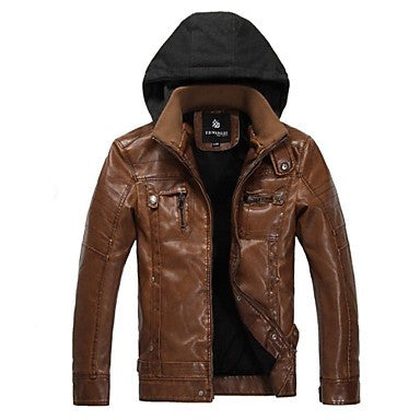 Men's Fashion Locomotive Hooded PU Jacket