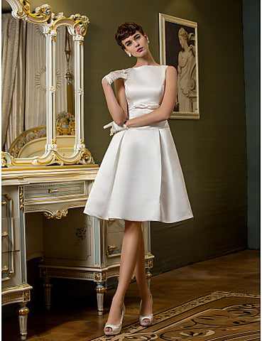 A-line Bateau Knee-length Satin Wedding Dress (710766)