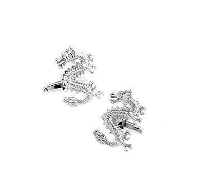 Mythology Chinese Dragon Shaped Silver Cufflinks