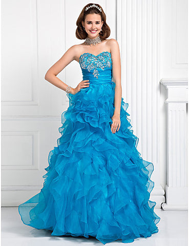 Ball Gown Sweetheart Floor-length Beading Organza Evening/Prom Dress