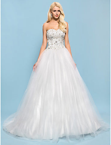 Ball Gown Sweetheart Chapel Train Tulle And Satin Wedding Dress