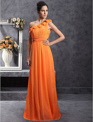 Bridesmaid Dress Floor Length Chiffon Over Stretch Satin Sheath Column One Shoulder Dress