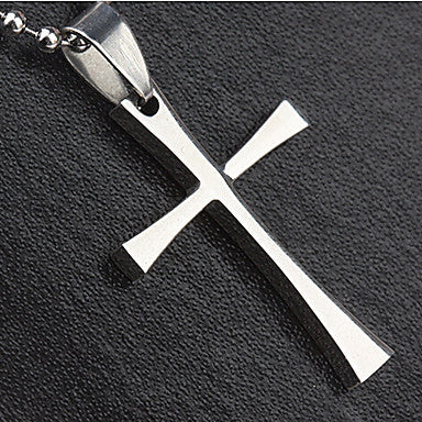 Fashion Smooth Surface Cross Shape Silver Titanium Steel Pendants (1 Pc)