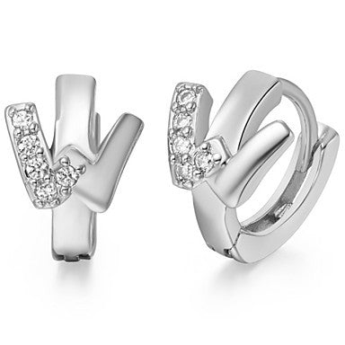 "Gifr for Boyfriend High Quality Silver Plated Letter ""W"" Men's Stud Earrings(1 pr)"