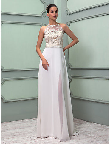 Wedding Dress Sheath Column Floor Length Lace and Chiffon High Neck With Crystal Brooch and Lace Beading