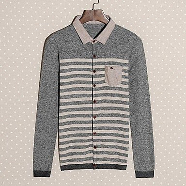Men's Autumn New Korean Self-Cultivation Shirt Collar Striped Sweater Cardigan
