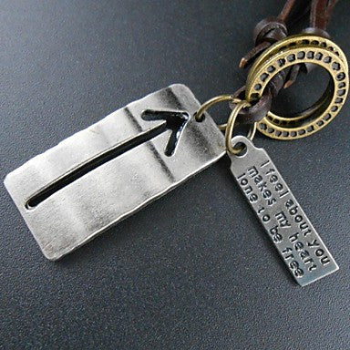 Korea Style Cross Silver Plate Leather Pandant Necklace(1pc)