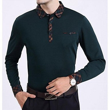 Men's Business Loose Solid Color Long Sleeve Polo T Shirt