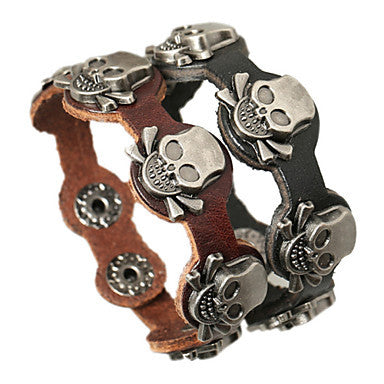 Classic Skull 20cm Men's Black,Brown Leather Leather Bracelet(Black,Brown)(1 Pc)