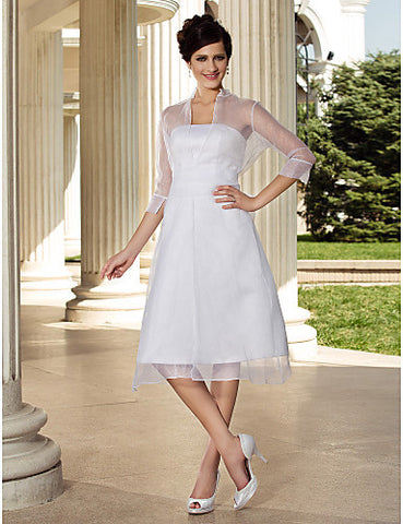 A-line 3/4 Length Sleeve Knee-length Organza Wedding Dress With A Wrap