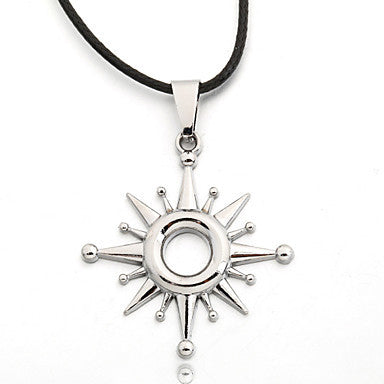 Men's Zinc Sun Black Rope Necklace Pendant