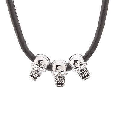 Three Skull Combination Metal Pendant Leather Cord Necklace(Black)
