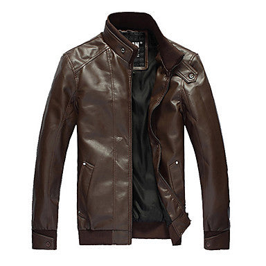 Men's Simple Black Motorcycle Leather Jacket