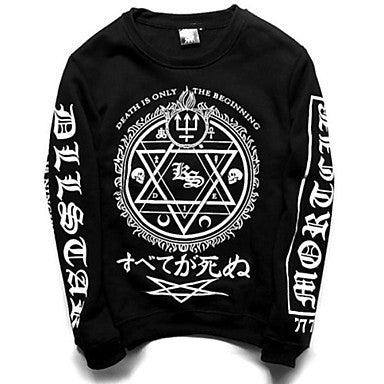 Men's Korean Print Long Sleeve Cotton Sweatshirts