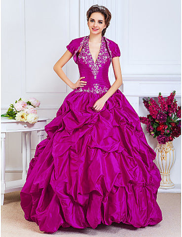 Ball Gown Halter Floor-length Taffeta Evening/Prom Dress With A Wrap