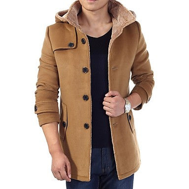 Men's Fashion Lapel Long Sleeve Suede with Hoodies Coat