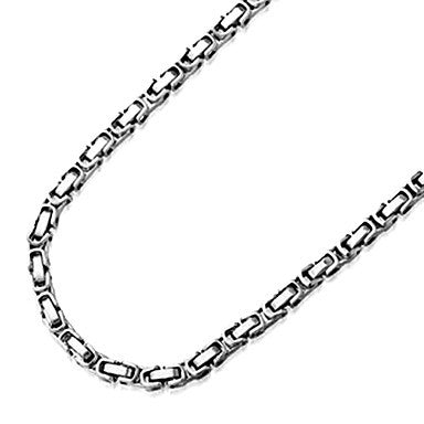 Fashion Box Silver Titanium Steel Chain Necklace(Random Pattern) (1 Pc)