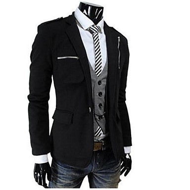 Men's Lapel Collar Solid Color Casual Long Sleeve Outwear