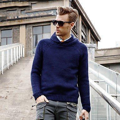 Men's Lapel European Style Pullover Sweater