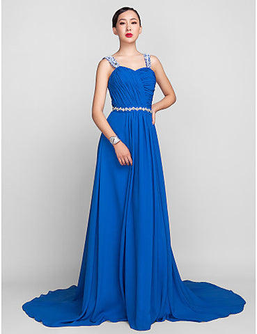 A-line/Princess Spaghetti Straps Sweep/Brush Train Chiffon Evening Dress
