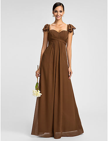 Bridesmaid Dress Floor Length Chiffon Sheath Column Spaghetti Straps Sweetheart Dress