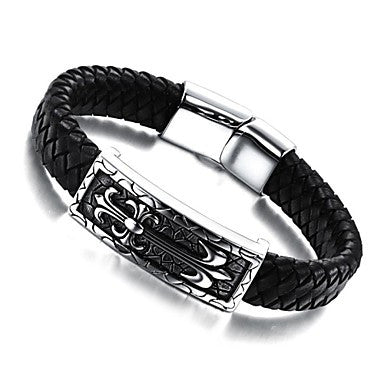 European Style Genuine Leather Stainless Steel Magnetic Buckle Men's Bracelet