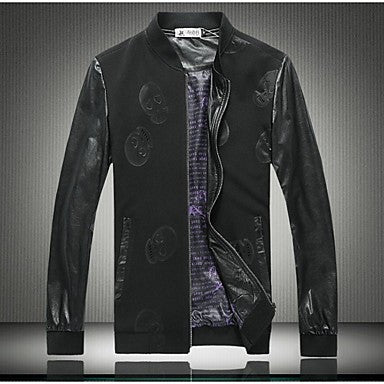 Men's PU Leather Stitching Skull Jacket