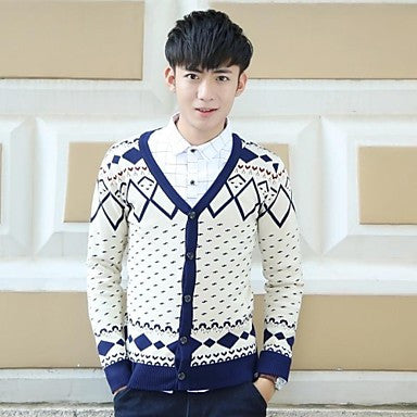 Men's V Neck Long Sleeve Casual Sweaters
