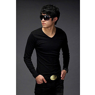 Men's V Neck Long A T-shirt