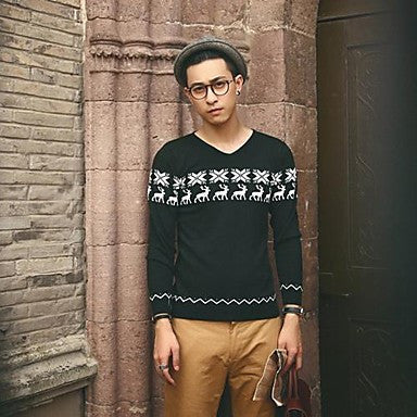 Men's V-Neck British Style Knit Sweaters