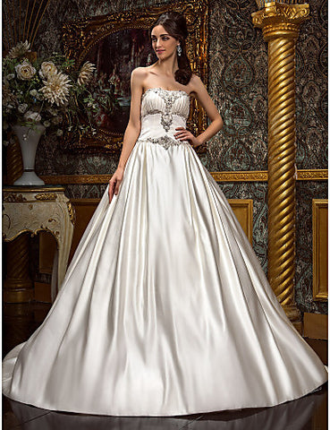 A-line Princess Strapless Chapel Train Satin Wedding Dress (605516)