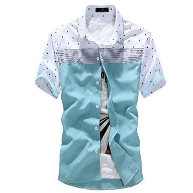 Men's Slim Casual Contrast color Short Sleeve Shirt