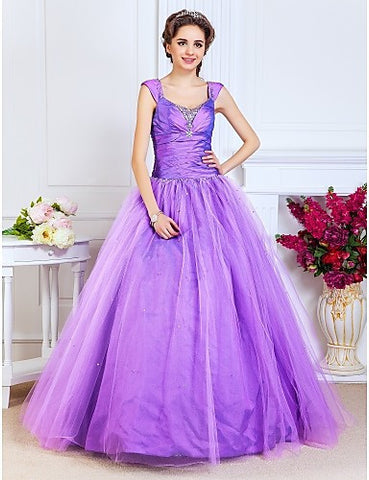 Ball Gown Scoop Floor-length Taffeta And Tulle Evening/Prom Dress
