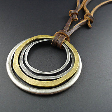 Classic (Round Pendant) Brown Leather Vintage Necklace(Assorted Color) (1 Pc)