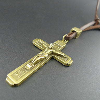 Fashion Cross Of Christ Brown Leather Pendant Necklace (1 Pc)