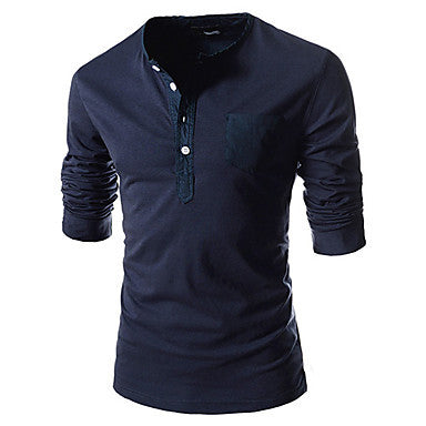 Men's Spring New Style Round Collor Button Decoration Relaxation Long Sleeve T-Shirt