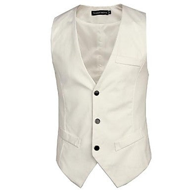 Men's V Neck Slim Single Breasted Vests