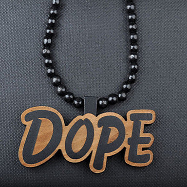 Fashion Nice Hip Hop DOPE Pendant Brown Wood Pendant Necklace(1 Pc)