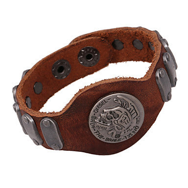 Punk 20cm Men's Brown Leather Leather Bracelet(1 Pc)