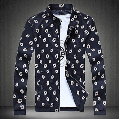 Men's Collar Printed Leisure Jacket